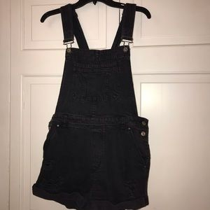 black distressed denim overall shorts